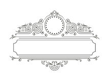 Vector floral frames in mono line style with copy space for text - logo design template Royalty Free Stock Images