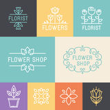Vector floral and gardening logos Royalty Free Stock Photos