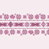 Vector floral geometric embroidery border color silhouette ornament royalty free illustration