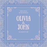 Vector floral and geometric monogram frame on damask background. Elegant invitation or wedding card. Design element Royalty Free Stock Images