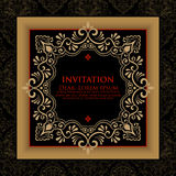 Vector floral and geometric monogram frame on damask background. Elegant invitation or wedding card. Design element Royalty Free Stock Photos