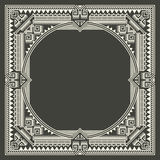 Vector floral and geometric monogram frame on dark gray background. Monogram design element. Royalty Free Stock Photos