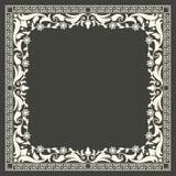 Vector floral and geometric monogram frame on dark gray background. Monogram design element. Stock Photography