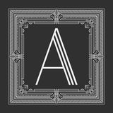 Vector floral and geometric monogram frame on dark gray background. Monogram design element. Royalty Free Stock Photo