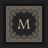 Vector floral and geometric monogram frame on dark gray background. Monogram design element. Royalty Free Stock Images