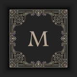 Vector floral and geometric monogram frame on dark gray background. Monogram design element. Stock Images
