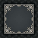 Vector floral and geometric monogram frame on dark gray background. Monogram design element. Royalty Free Stock Photography
