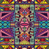 Vector floral geometric seamless pattern, ethnic ornament Royalty Free Stock Photos