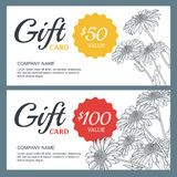 Vector floral gift voucher background template. Vintage outline illustration of chamomile flowers. Stock Photography
