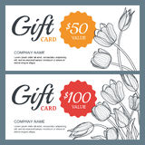 Vector floral gift voucher background template. Vintage outline illustration of tulip flowers. Royalty Free Stock Photos