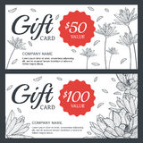 Vector floral gift voucher or card background template. Vintage Stock Photos