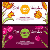 Vector floral gift voucher template. Colorful spring background with pink and yellow tulip flowers. Royalty Free Stock Photography