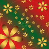 Vector floral gold pattern on red green background Stock Images