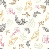 Vector Floral Gold Pink Brown Tropical Drawing Royalty Free Stock Photos