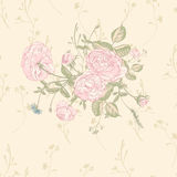 Vector floral greeting card with blossom roses Stock Photos