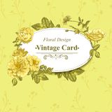 Vector floral greeting card with blossom roses Royalty Free Stock Image