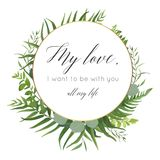 Vector floral greeting card design with elegant tropical greener. Y, plam leaves,eucalyptus green branches,  herbs, ferns wreath & golden frame. Romantic Stock Images