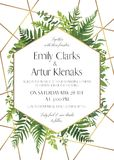 Vector floral greeting card design with elegant tropical greener. Y, plam leaves,eucalyptus green branches,  herbs, ferns wreath & golden frame. Romantic Royalty Free Stock Photo
