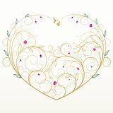 Vector floral greeting card with heart royalty free stock images