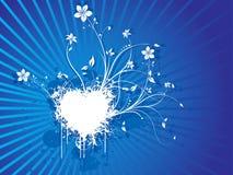 Vector floral grunge blue background Stock Images