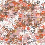 Vector floral grunge pattern with roses. On splash and splattered watercolor paint. Vintage print with flowers in pink color on hand drawn retro background Stock Photography