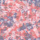 Vector floral grunge pattern with roses. On splash and splattered watercolor paint. Vintage print with flowers in pink color on hand drawn retro background Royalty Free Stock Photography