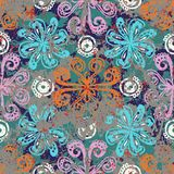 Ethnic grunge pattern. Vector floral grunge pattern on splash and splattered watercolor paint. Bold ethnic and tribal print with flowers in bright color on hand Stock Image