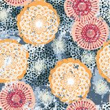 Vector floral grunge pattern. On splash and splattered watercolor paint. Bold ethnic and tribal print with flowers in bright color on hand drawn background Royalty Free Stock Photo