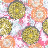 Vector floral grunge pattern. On splash and splattered watercolor paint. Bold ethnic and tribal print with flowers in bright color on hand drawn background Stock Photo