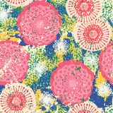 Vector floral grunge pattern. On splash and splattered watercolor paint. Bold ethnic and tribal print with flowers in pink color on hand drawn background Stock Photo