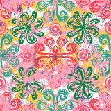 Ethnic grunge pattern. Vector floral grunge pattern on splash and splatters of watercolor paint. Bold ethnic and tribal print with flowers in pink on hand drawn Royalty Free Stock Photography