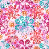 Ethnic grunge pattern. Vector floral grunge pattern on splash and splatters of watercolor paint. Bold ethnic and tribal print with flowers in pink on hand drawn Stock Image