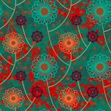 Vector floral grunge pattern. On splash and sprayed watercolor paint. Bold ethnic and tribal print with abstract flowers in color on hand drawn background Royalty Free Stock Photography