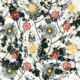 Vector floral grunge pattern. On watercolor paint. Bold ethnic and tribal print with abstract flowers in red blue color on hand drawn background. Seamless Royalty Free Stock Images