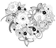 Vector floral heart. Rich  floral heart in color black and white Royalty Free Stock Photo