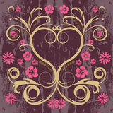 Vector floral heart. Grunge vector floral heart design Royalty Free Stock Image