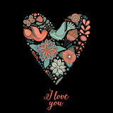 Vector floral heart made of flowers and herbs greeting card Royalty Free Stock Images