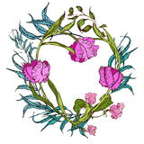 Vector floral heart with pink flowers and blue leaves Royalty Free Stock Photo