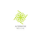 Vector floral icon and design template in outline style - abstract monogram for alternative medicine. stock images