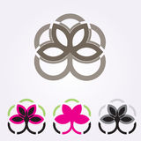 Vector floral icons and logo design templates in outline style - abstract monograms and emblems Royalty Free Stock Photo