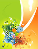 Vector floral illustration. Vector floral and butterflyes fantasy illustration Stock Photo