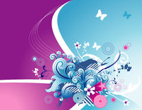 Vector floral illustration. Vector floral and butterflyes fantasy illustration Royalty Free Illustration