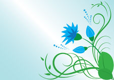 vector floral illustration with blue flower Royalty Free Stock Images