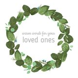 Vector floral illustration of a round frame of a wreath of rose stock illustration