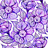 Vector floral ink background with flowers. EPS10 Royalty Free Stock Photo