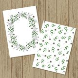 Vector floral invitation or banner in cartoon style. Mock up on wood boards. Vector wreath and pattern of garden flowers and herbs vector illustration
