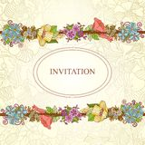 Vector floral invitation card, flowers and leaves Royalty Free Stock Photography