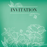 Vector floral invitation. For events design with different flowers royalty free illustration