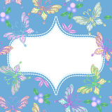 Vector Floral lace frame with butterflies Royalty Free Stock Photo