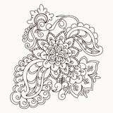 Vector floral lace pattern element. In Oriental style. Ornamental lace pattern for wedding invitations, greeting cards, wallpaper, backgrounds, fabrics, textile Stock Image